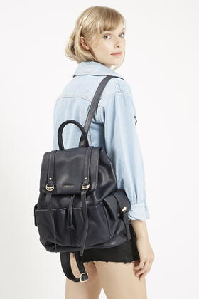 d283aaa908 TOPSHOP Large Pu Backpack in Blue - Lyst