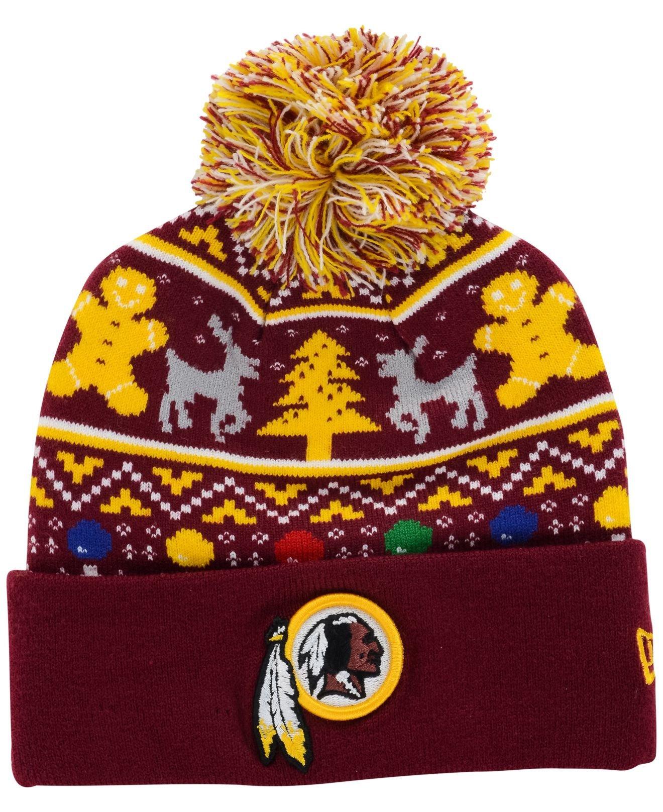 check out 13e82 7bb82 KTZ Purple Washington Redskins Christmas Sweater Pom Knit Hat for men
