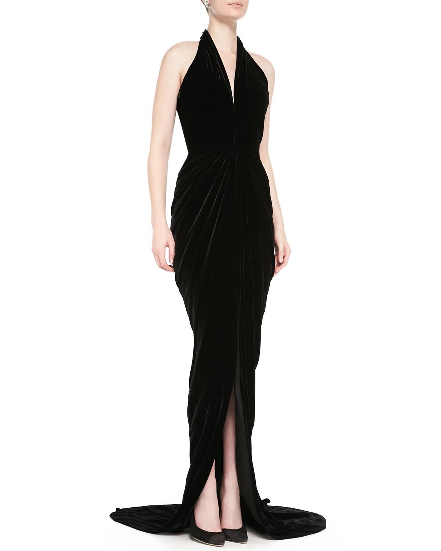 Lyst - Oscar De La Renta Velvet Halter Evening Dress in Black