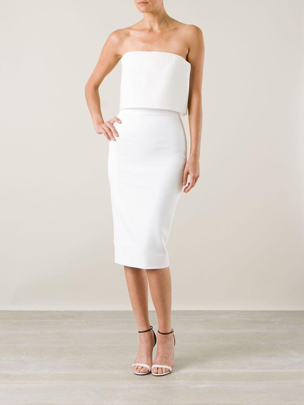 Victoria Beckham White Strapless Bustier Dress
