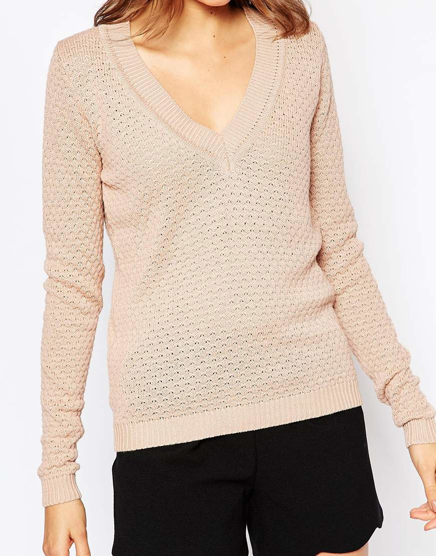 Knitting V Neck Neckband : Lyst vila v neck knit jumper in brown