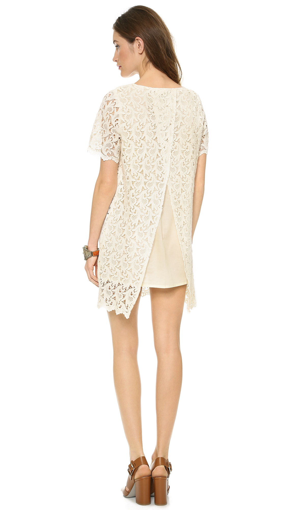 Lyst Blaque Label Short Sleeve Lace Dress Cream In Natural