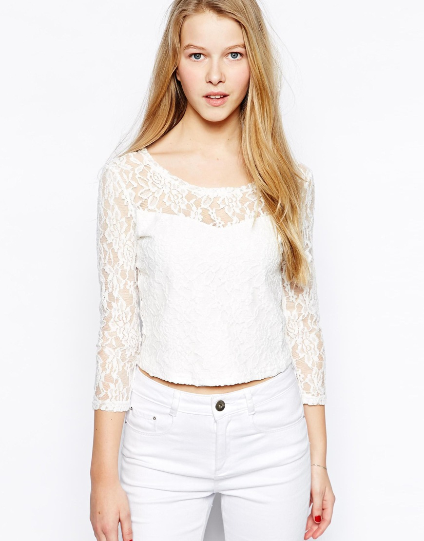 Glamorous Lace Crop Top with Long Sleeves in White (Cream ...