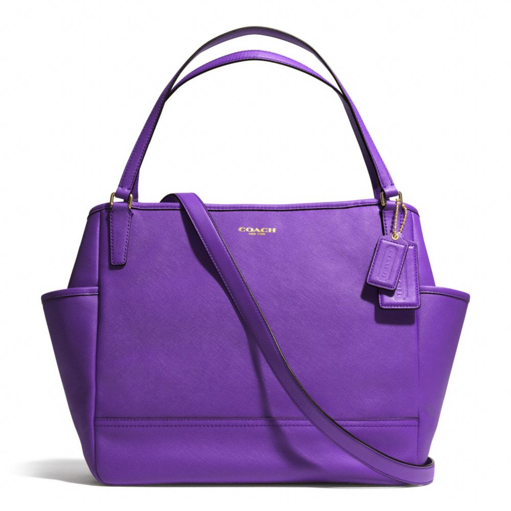 c1c60f3907aa ... low price lyst coach baby bag tote in saffiano leather in purple 26ac0  d04f4