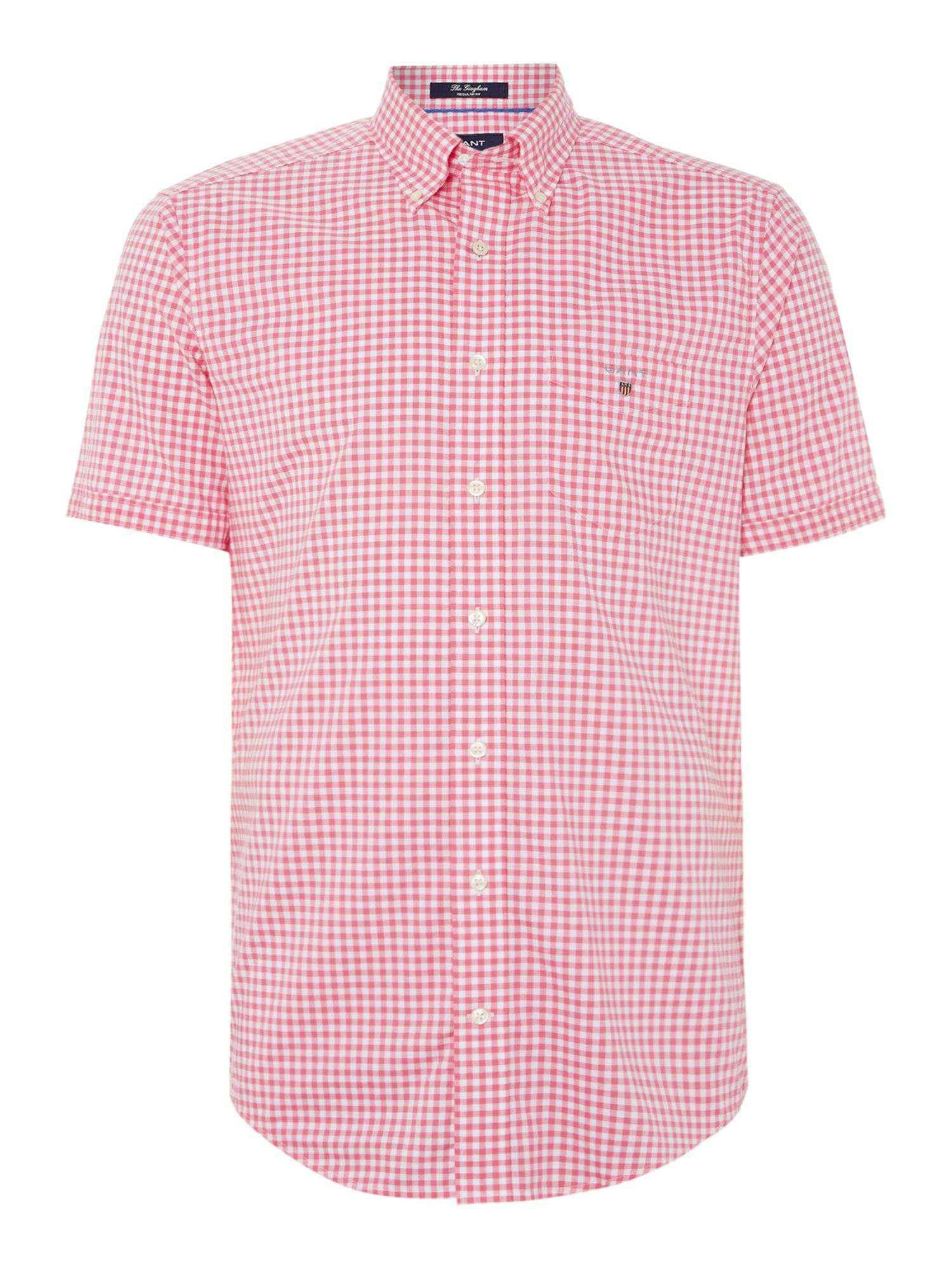 Gant gingham classic fit short sleeve shirt in pink for for Pink gingham shirt ladies