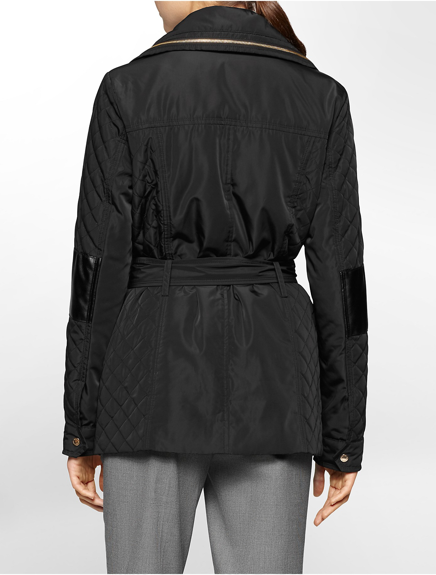 Calvin Klein White Label Lightweight Quilted Belted Hooded