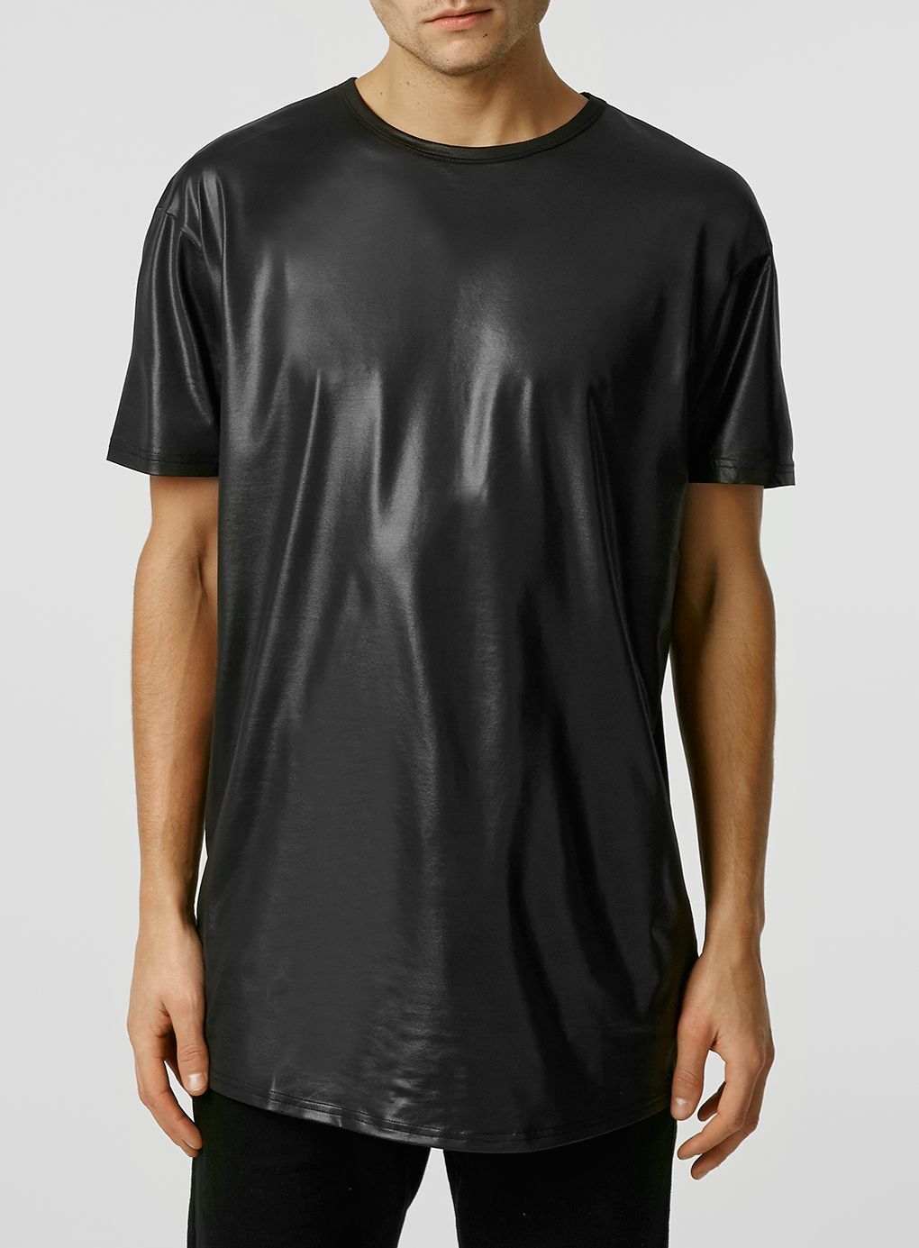 topman short sleeve wet look long line t shirt in black. Black Bedroom Furniture Sets. Home Design Ideas