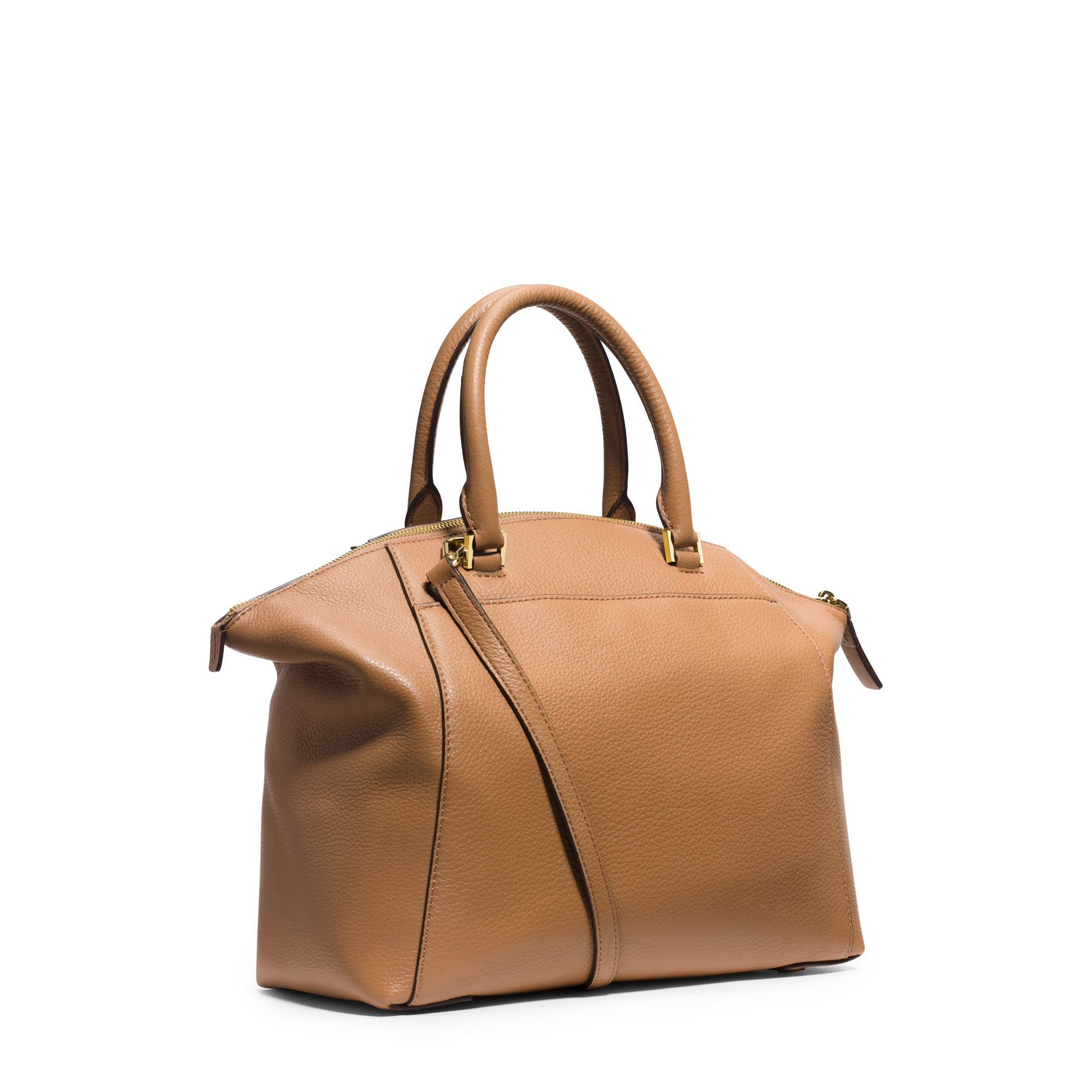 Michael Kors Riley Laukku : Michael kors riley large pebbled leather satchel in brown