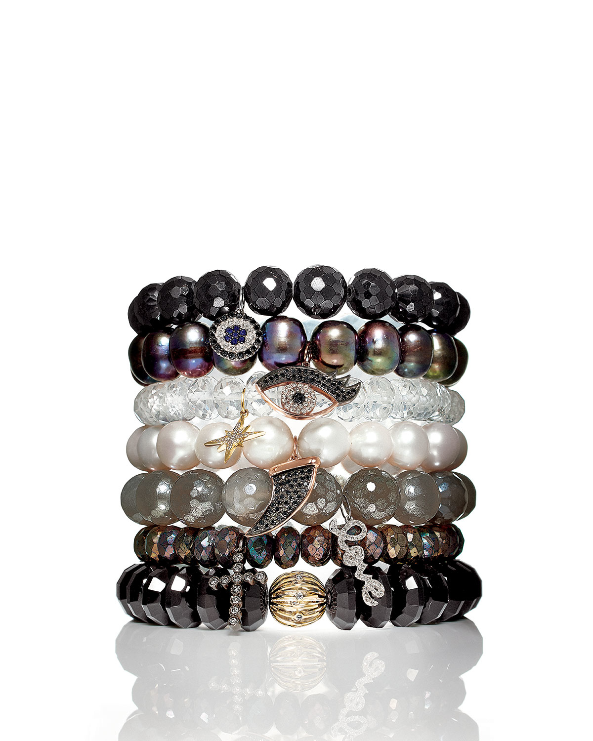 Sydney Evan Black Peacock Pearl Beaded Bracelet with Diamond Ball Spacer tb8ys