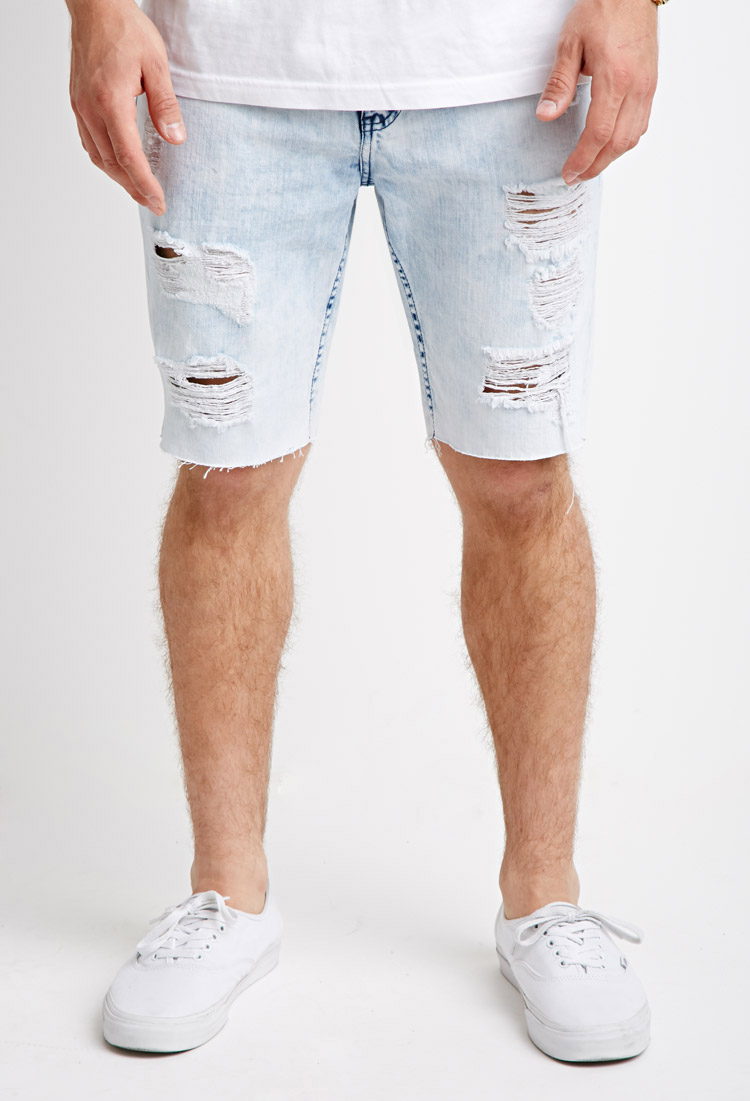Forever 21 Distressed Bleach Wash Denim Shorts in Blue for Men | Lyst