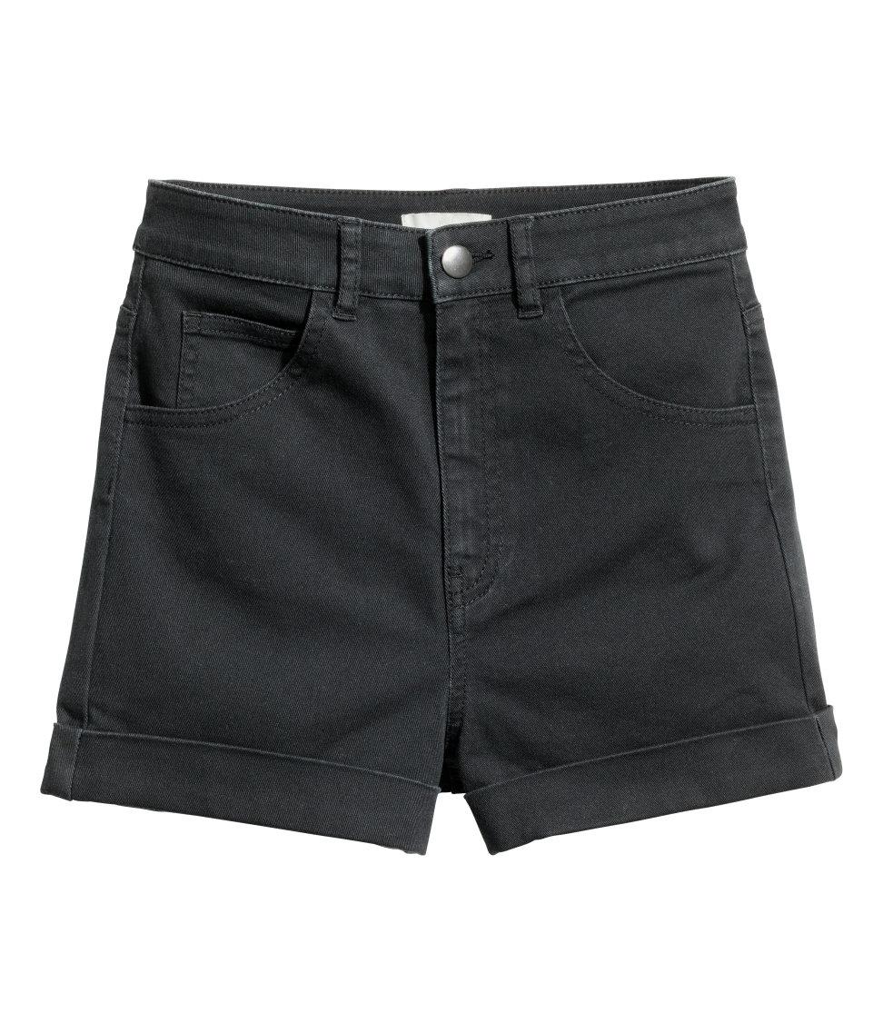 Lyst - Hu0026M Twill Shorts High Waist in Black