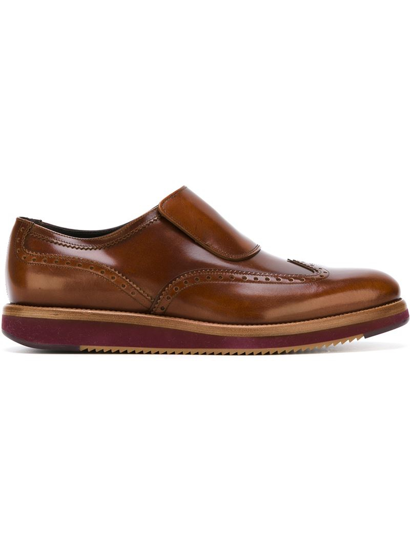 ferragamo lennon slip on shoes in brown for lyst