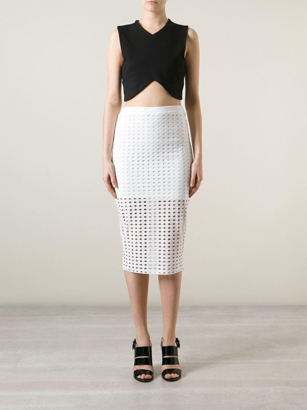 t by wang circular midi pencil skirt in