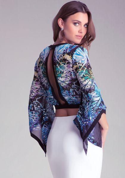 Bebe Kimono Crop Top in Blue | Lyst