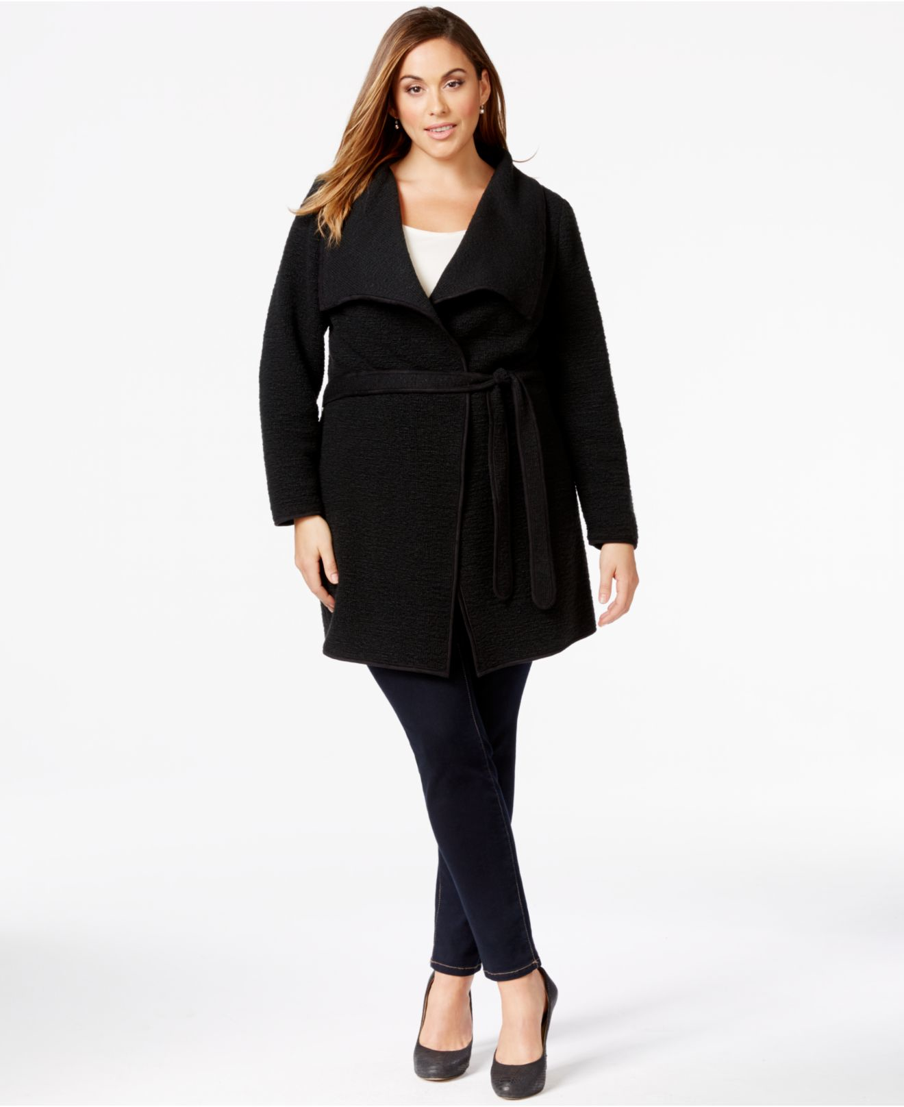 2654261a33f Lyst - Calvin Klein Plus Size Belted Wrap Sweater-jacket in Black