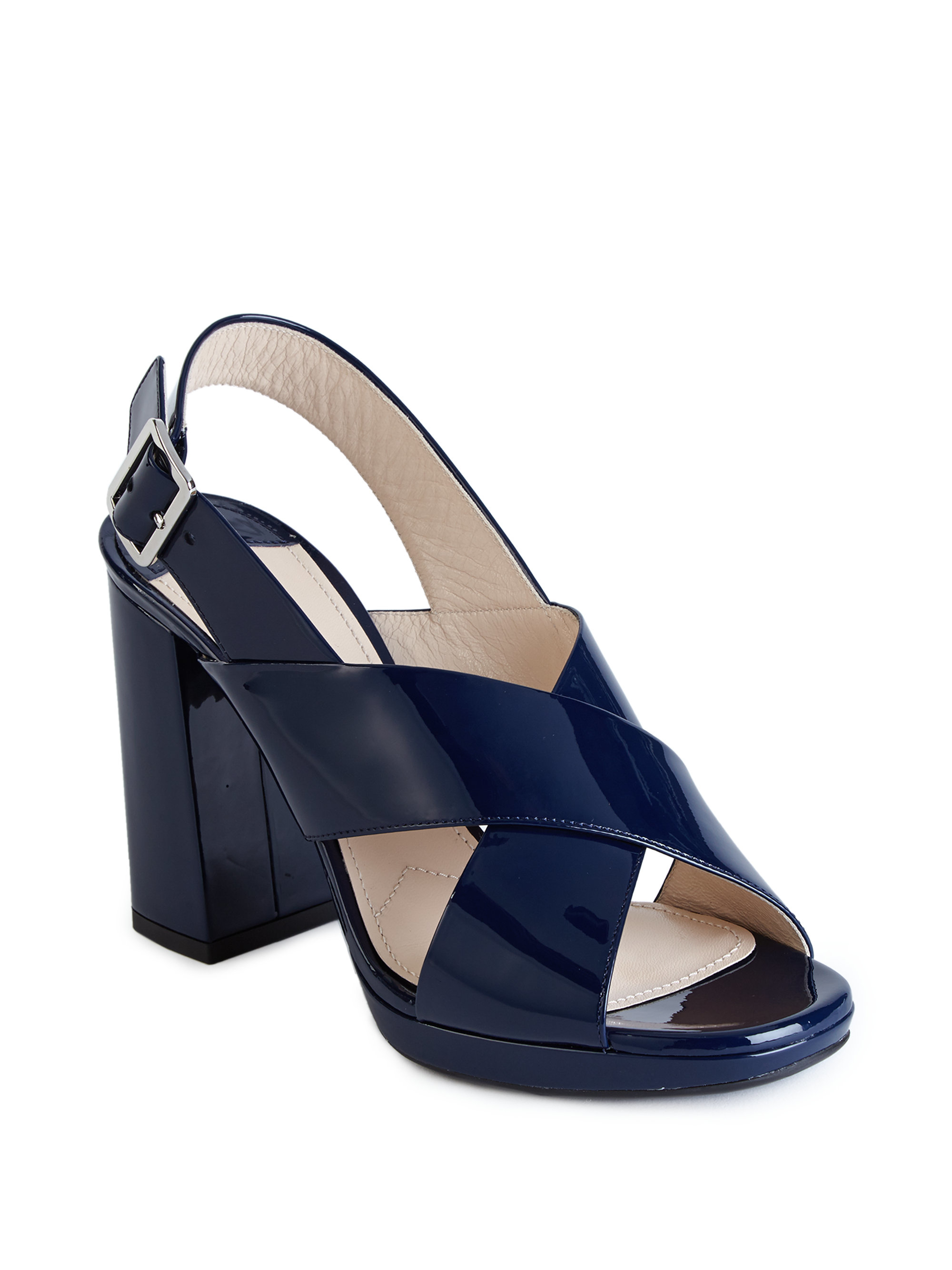 Lyst Prada Patent Leather Crisscross Block Heel Sandals