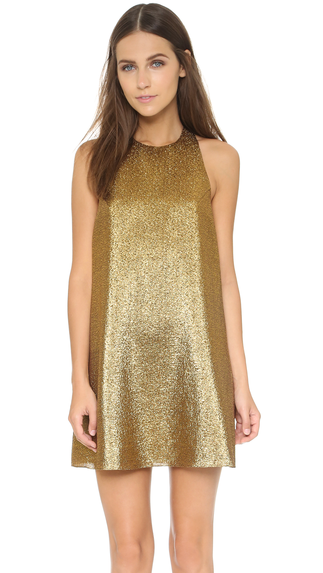 Alice Olivia Harrison Flared Dress In Metallic Lyst