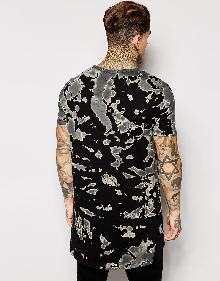 Asos Longline T-shirt With Bleached Tie Dye Wash in Black for Men ...