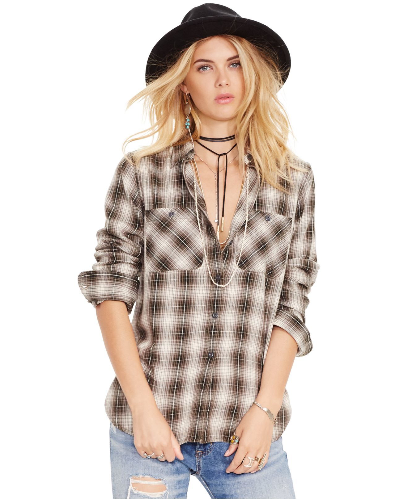Denim Amp Supply Ralph Lauren Plaid Flannel Shirt In Natural
