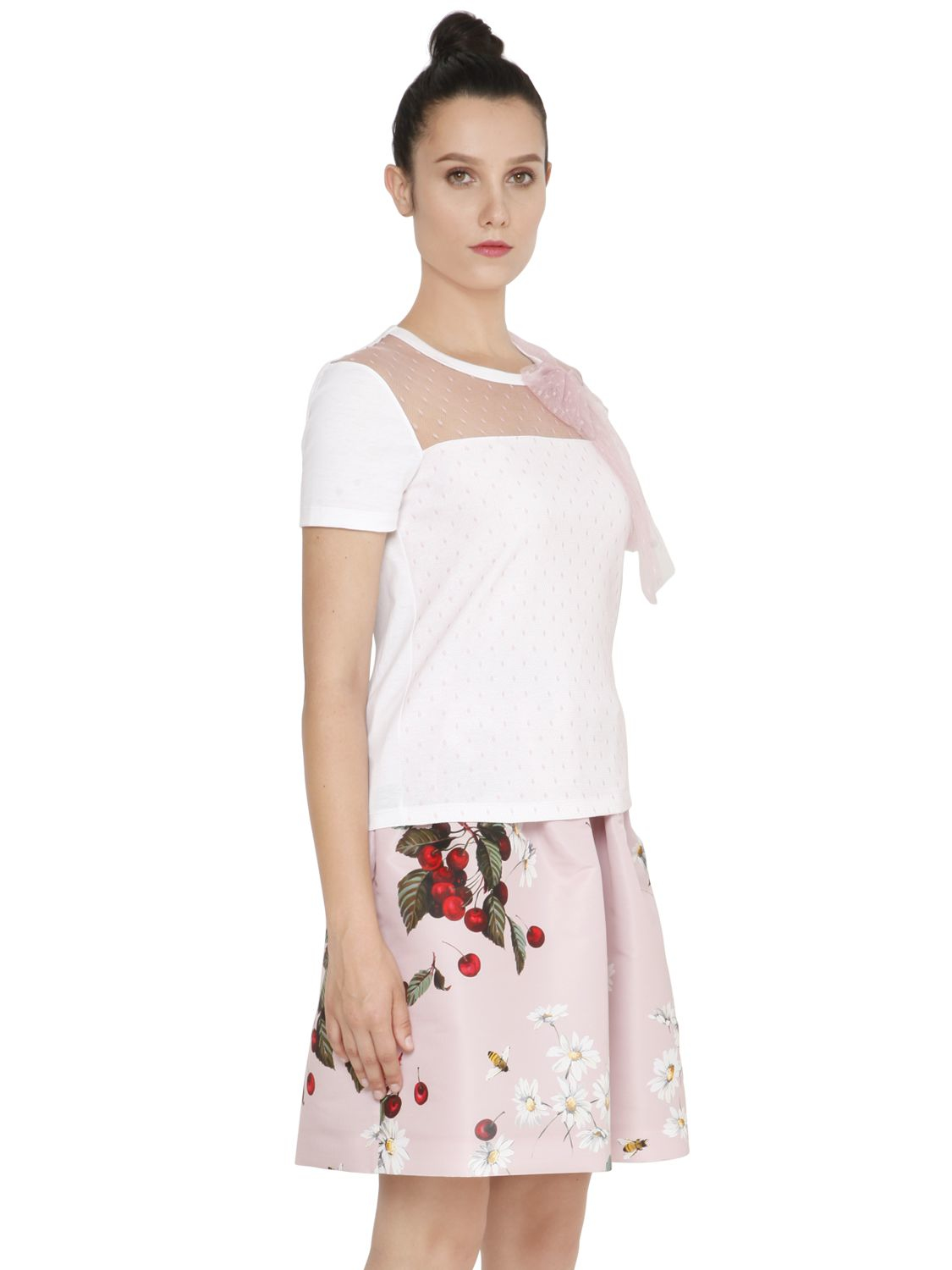 Lyst Red Valentino Cotton Jersey Amp Swiss Dot Tulle T