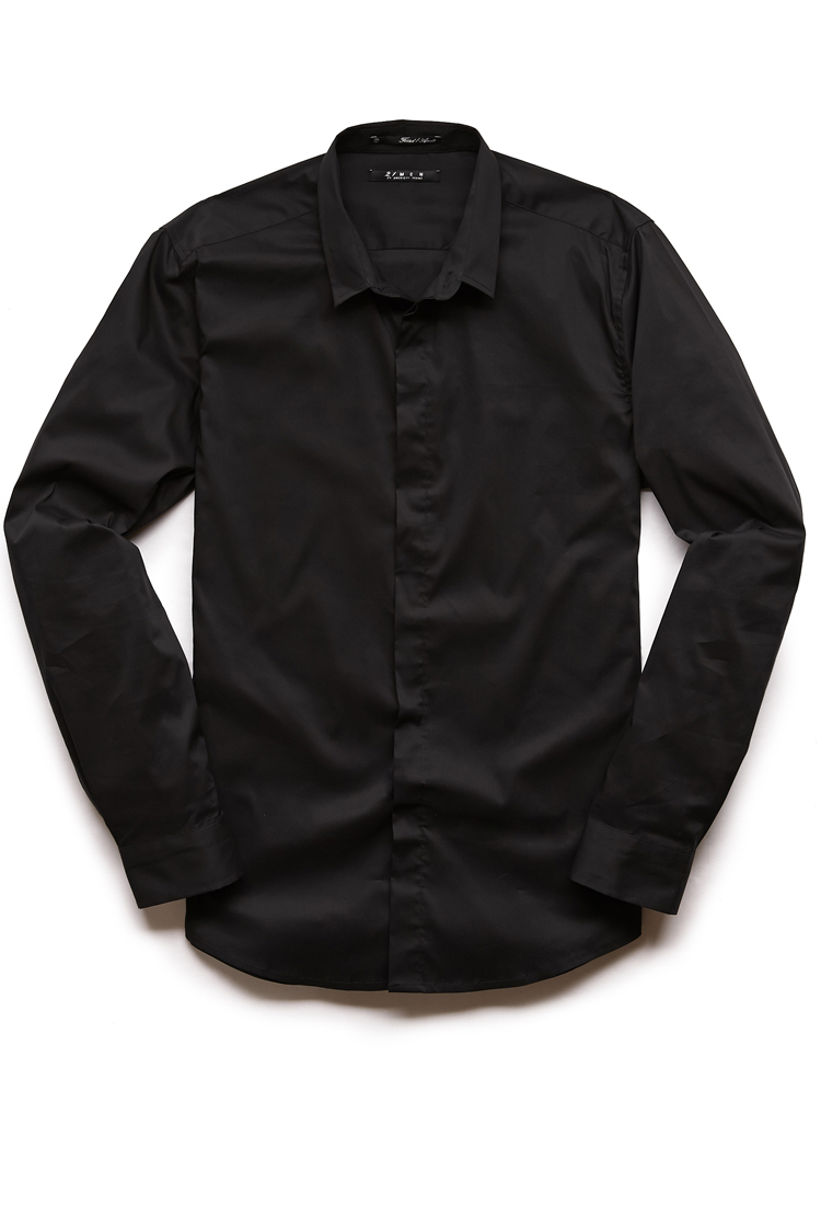 Forever 21 slim fit dress shirt in black for men lyst for Athletic fit dress shirts
