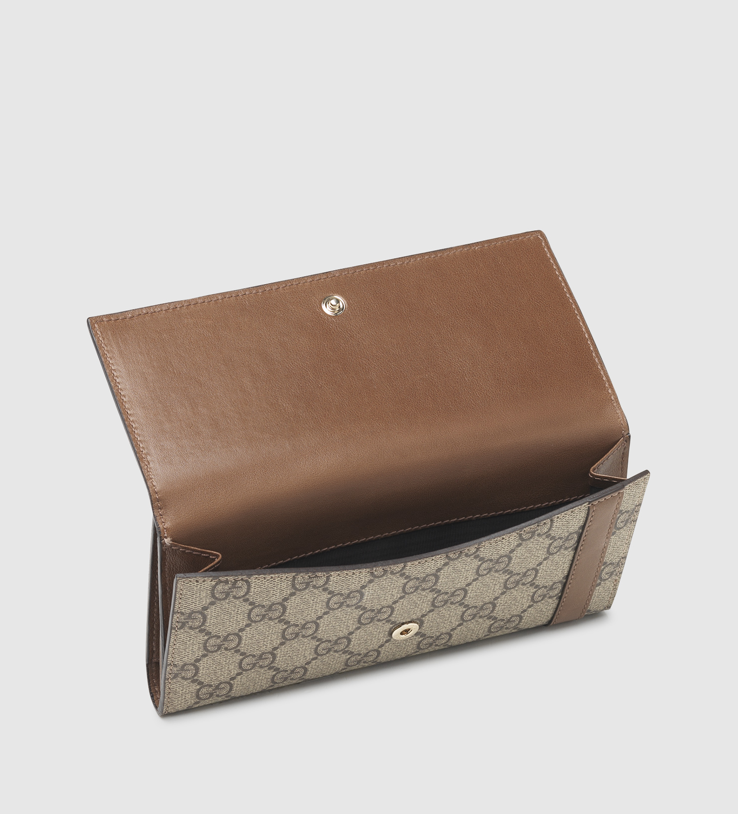 eb71afa38 Gucci Nice Gg Supreme Canvas Continental Wallet in Brown - Lyst