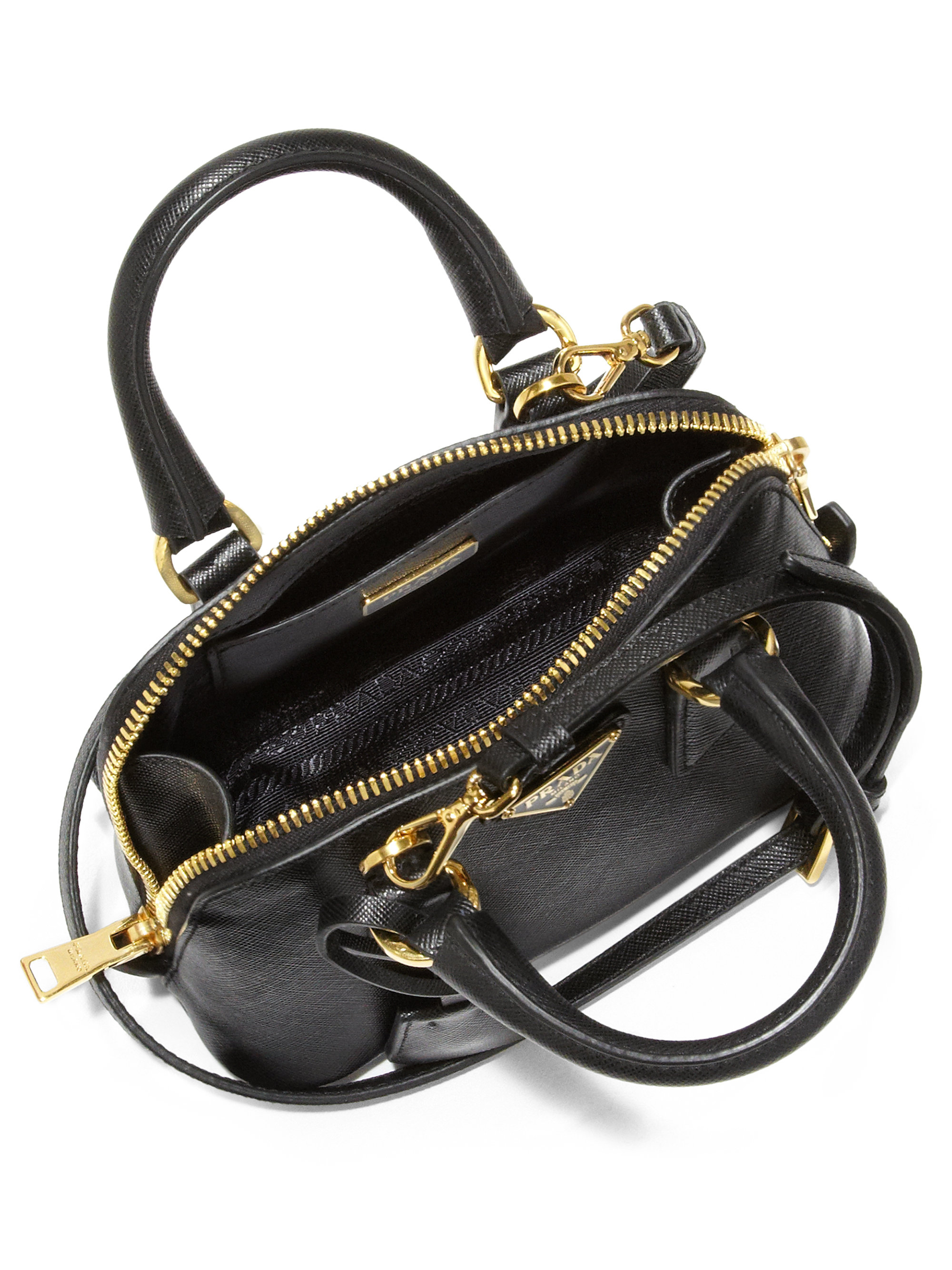 prada leather brown bag - Prada Saffiano Lux Double Handle Mini Satchel in Black (NERO-BLACK ...
