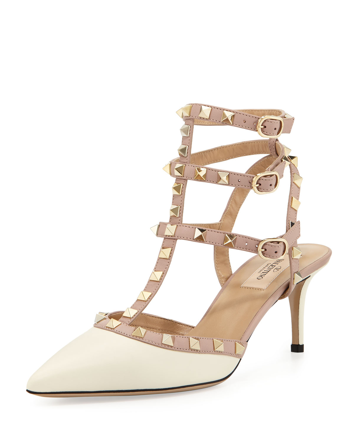 5297cc05590 Valentino Rockstud Pointed Patent Pump White in Natural - Lyst