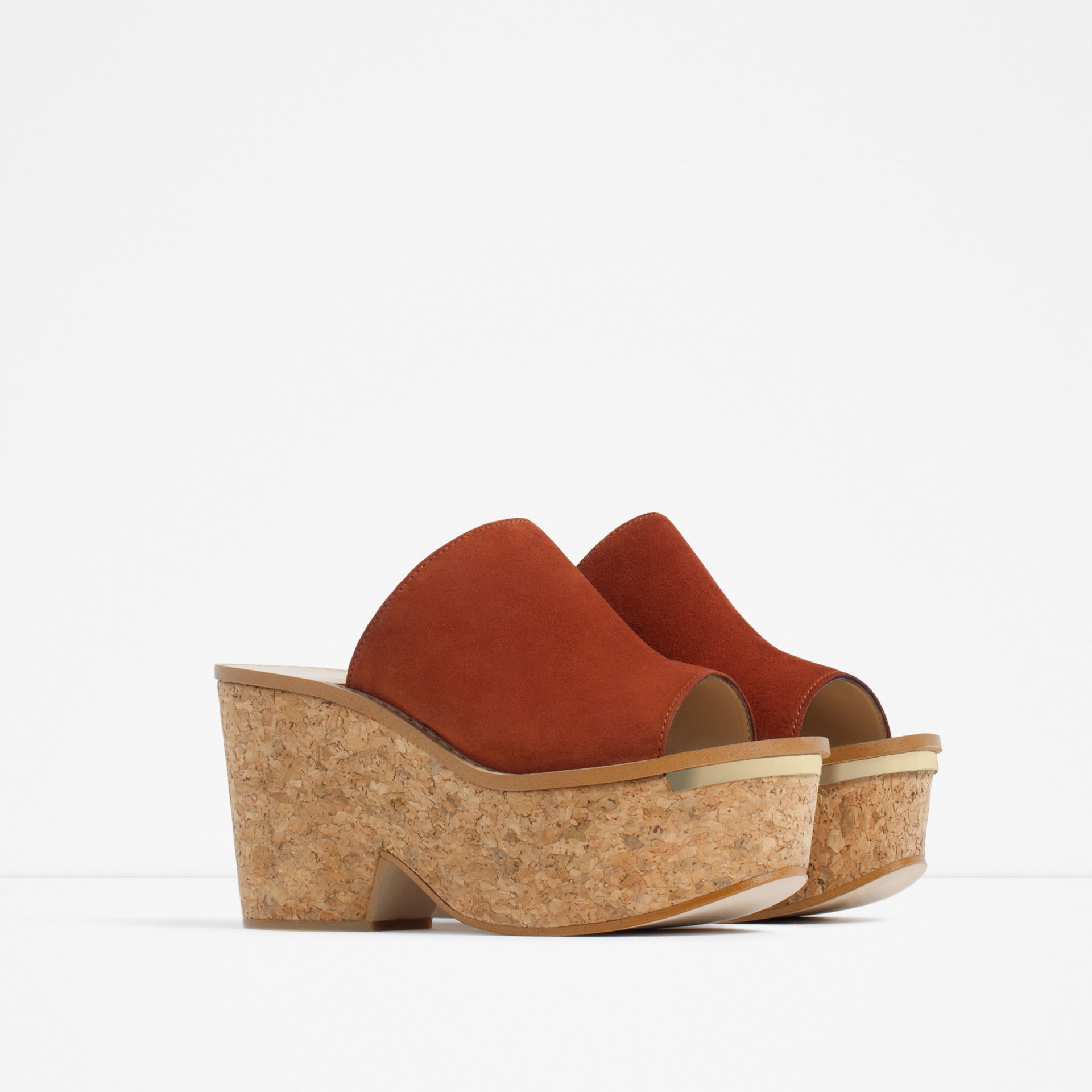 zara cork and leather wedges in lyst
