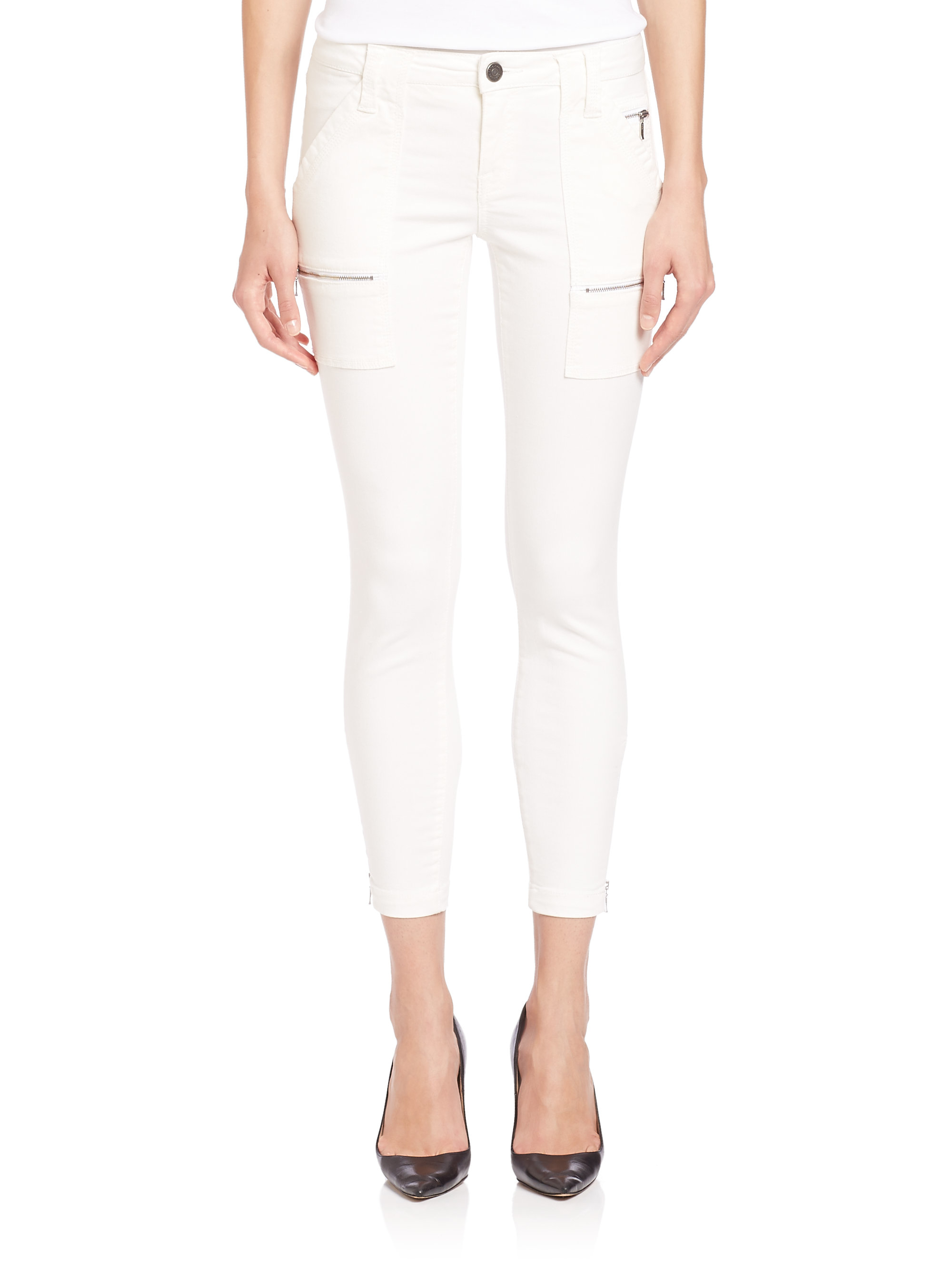 Joie Park Skinny Twill Pants in White | Lyst