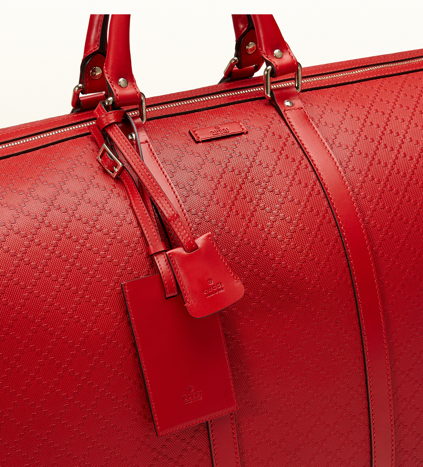 e5bd70a076d4 Gucci Bright Diamante Leather Carry-on Duffle Bag in Red - Lyst