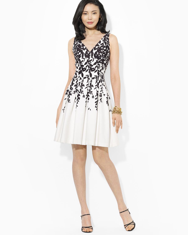 Ralph Lauren Lauren Dress Sleeveless Floral Print Fit
