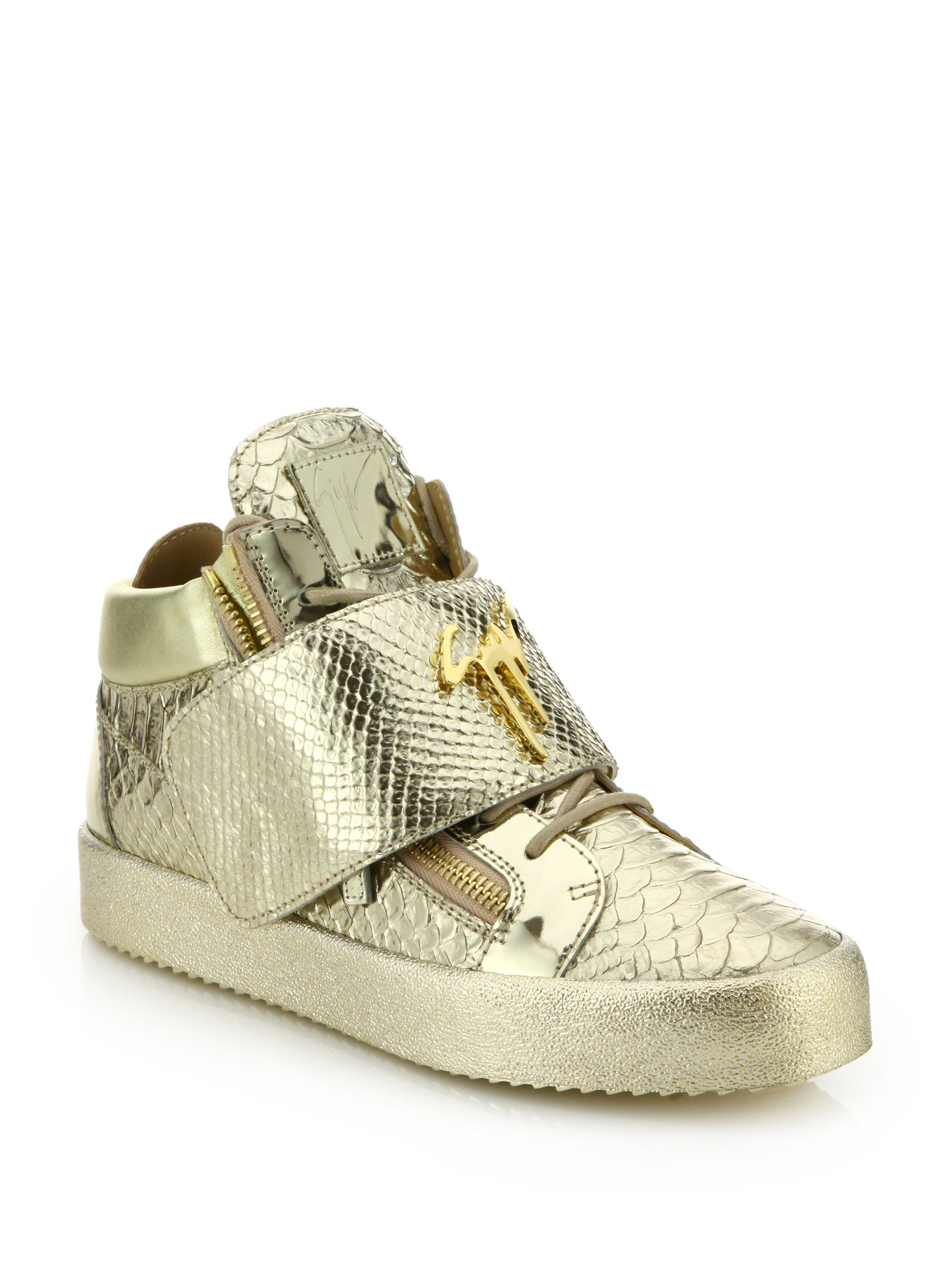 Lyst - Giuseppe Zanotti Snake Print Grip-tape Low-top Sneakers in ... 0d8b6e51d