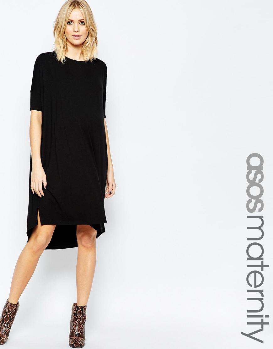 Lyst asos midi t shirt dress in black for Midi shirt dress black