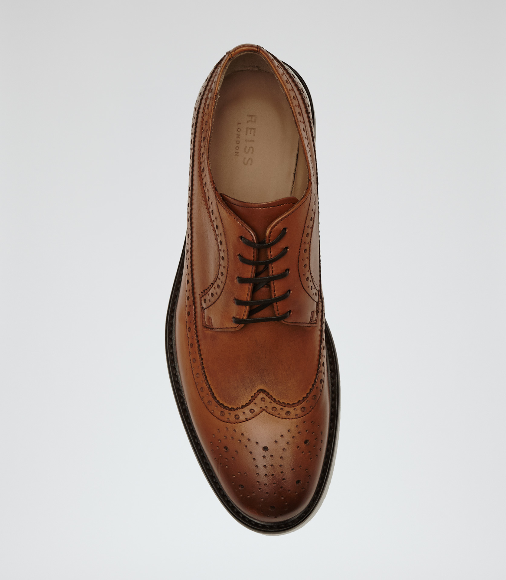 Reiss Ash Longwing Leather Brogues in Tan (Brown) for Men