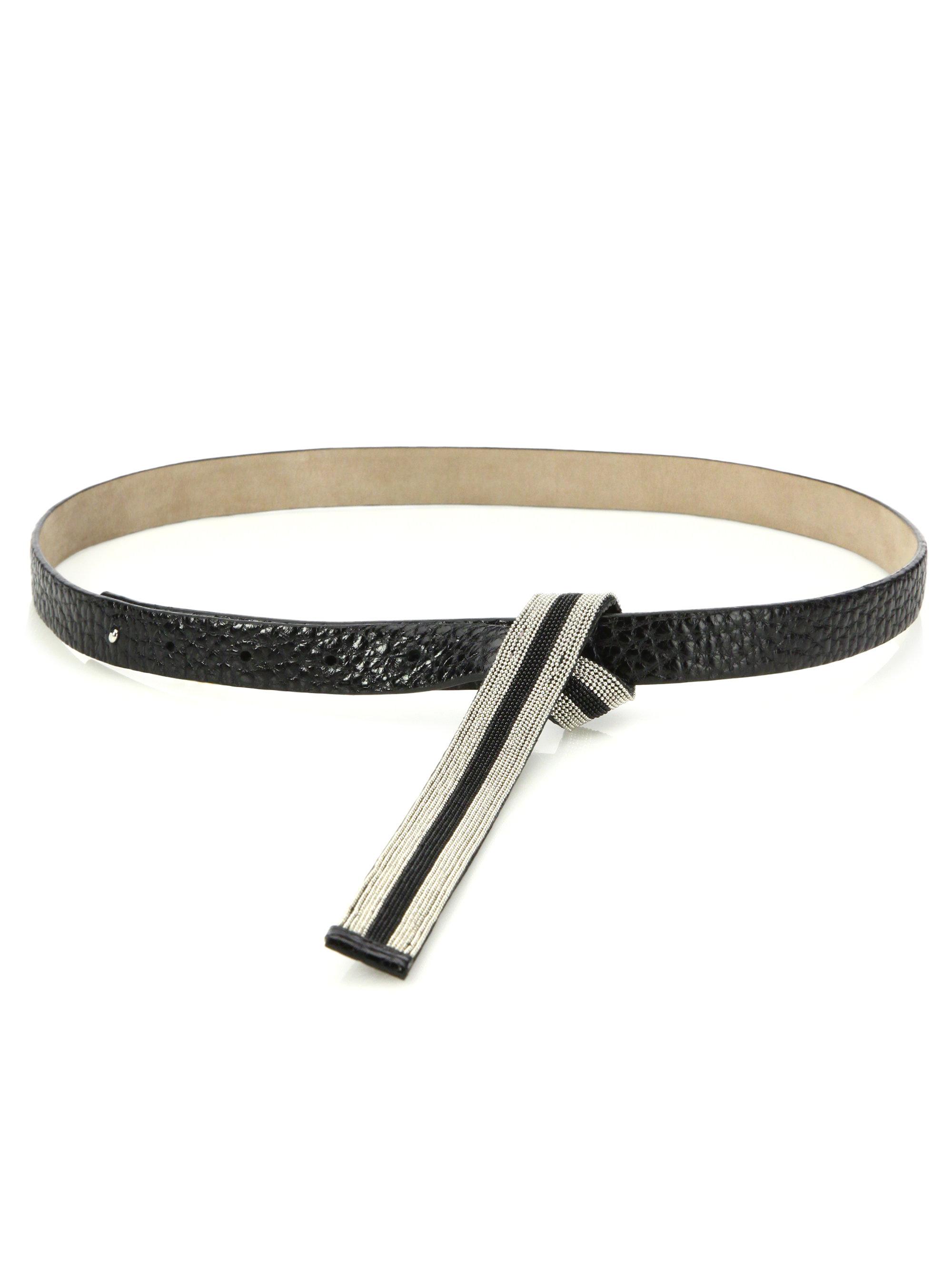 brunello cucinelli leather chain belt in black lyst