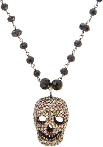 Bavna Pave Diamond Skull Pendant Necklace In Gold Lyst