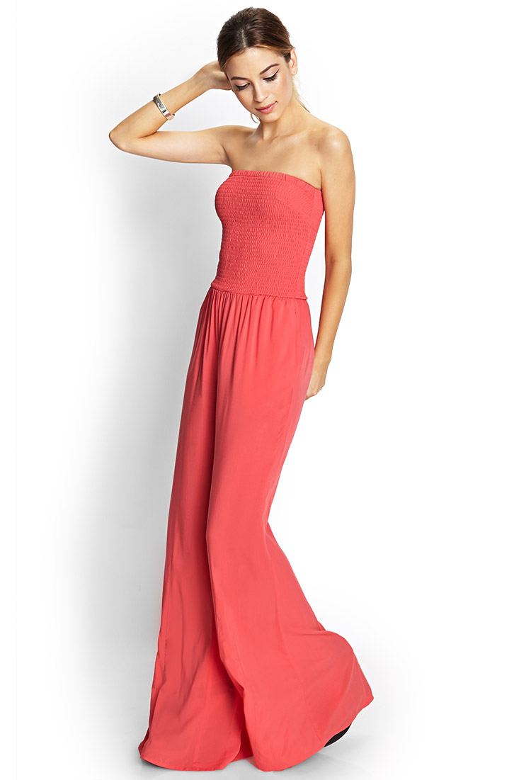 Forever 21 Retro Doll Flared Jumpsuit In Coral Pink Lyst