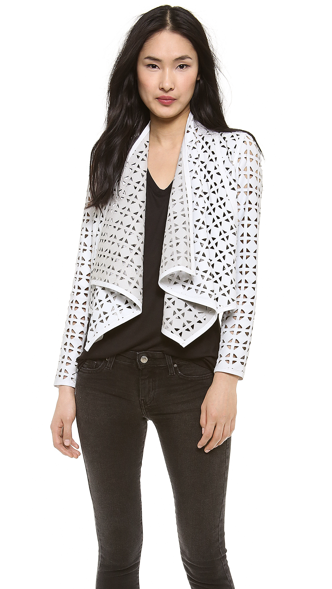 Lyst Milly Laser Cut Leather Jacket White In White
