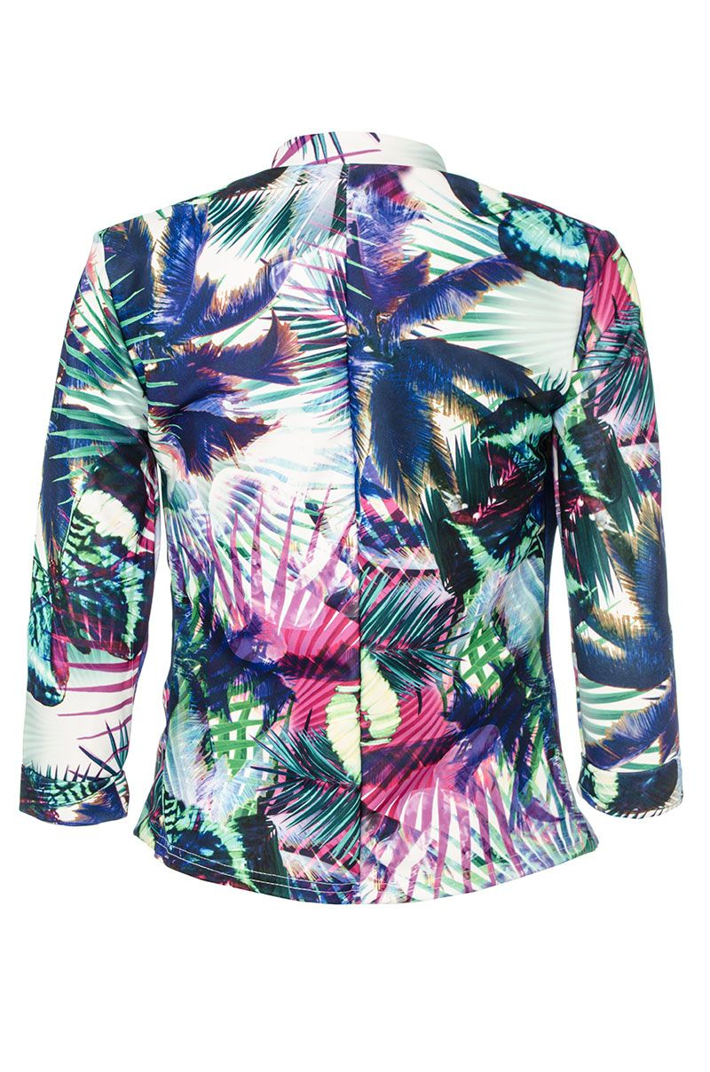 Quiz Tropical Print Waterfall Jacket In Blue Lyst