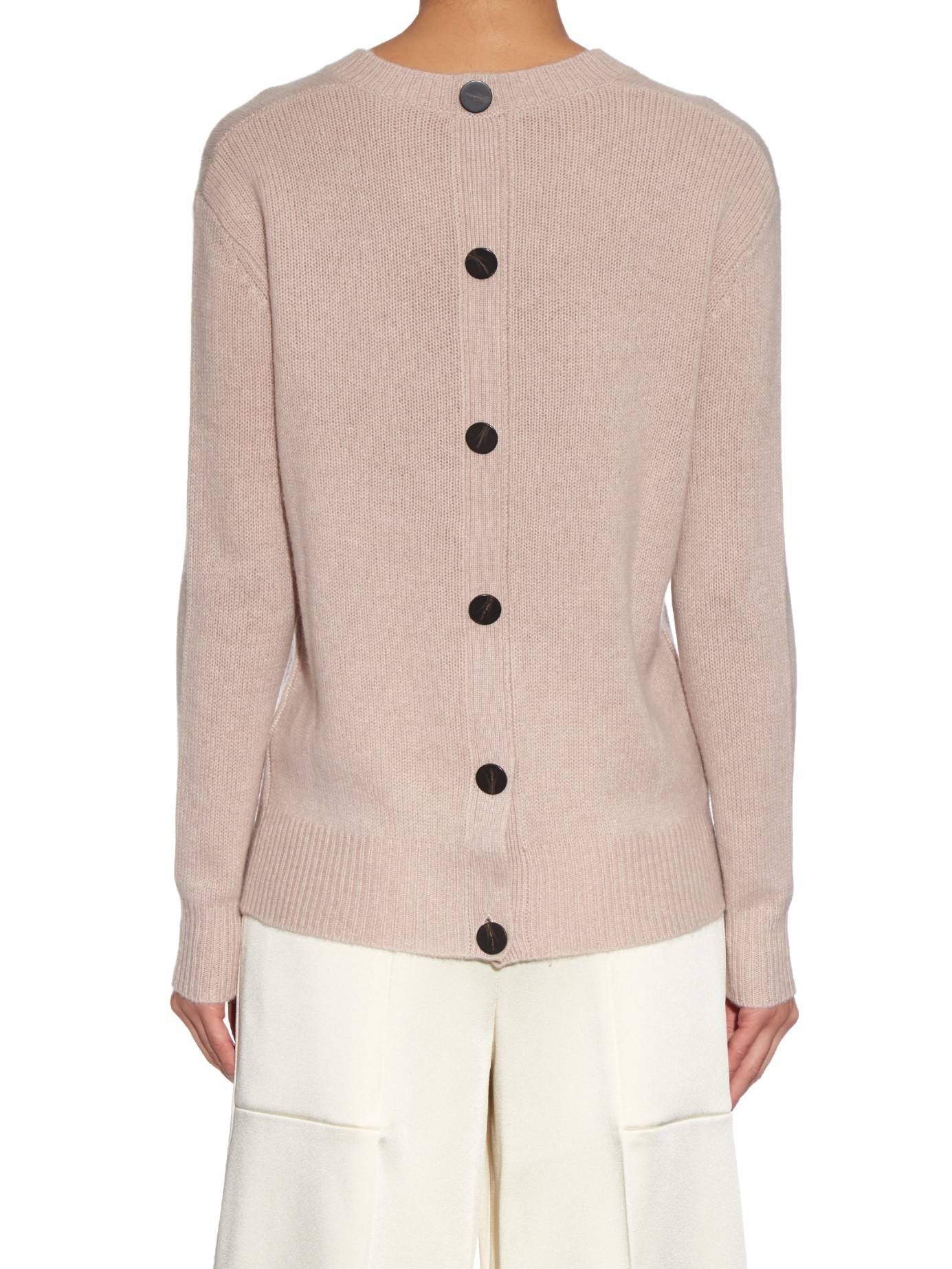 Joseph Crew-neck Cashmere Sweater in Natural | Lyst