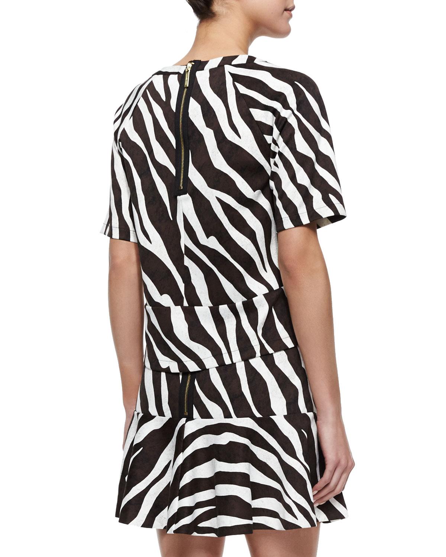 3cb13af41936 Lyst - MICHAEL Michael Kors Ghanzi Zebra-Print Short-Sleeve Top