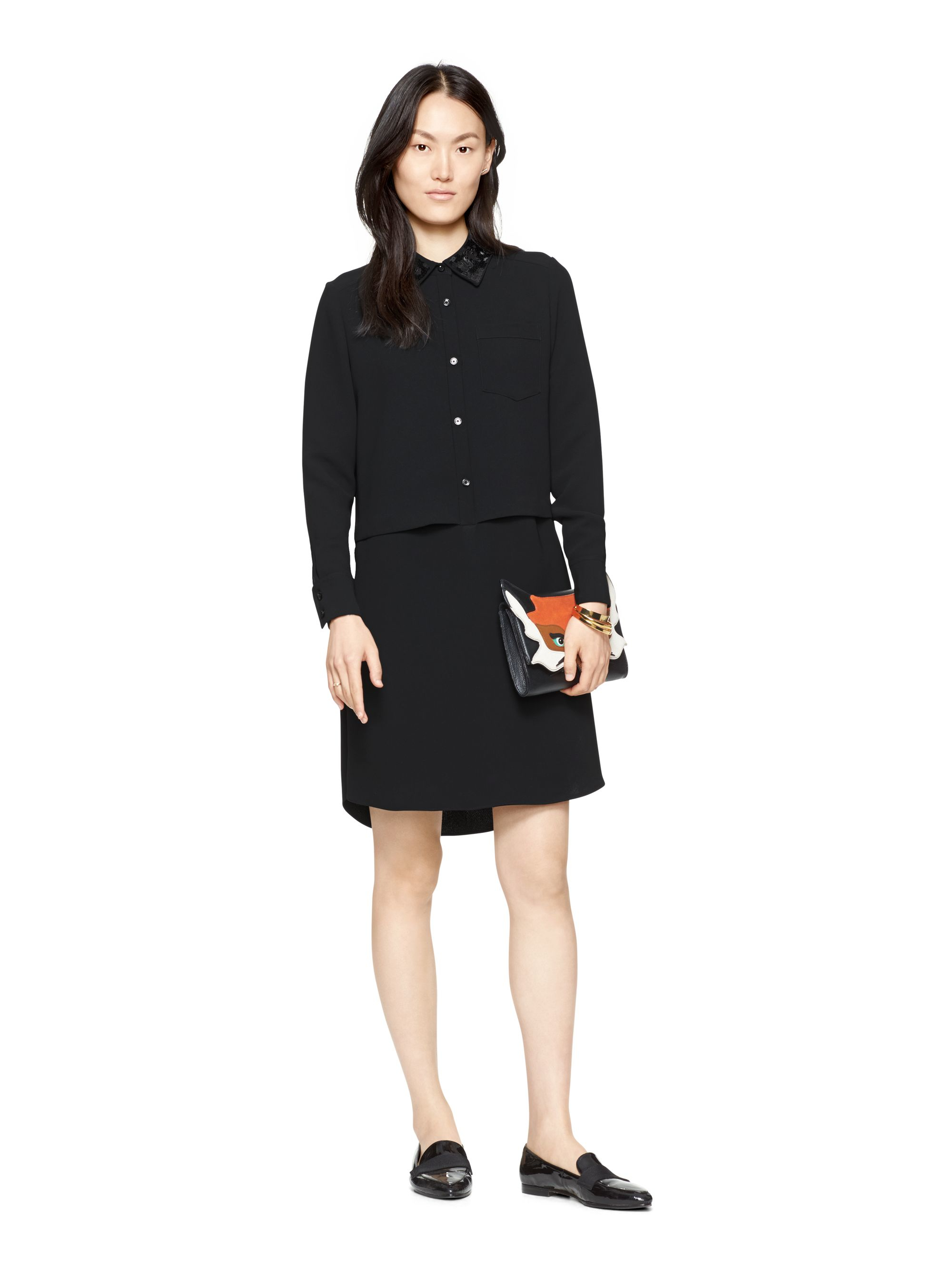 Lyst Kate Spade New York Sequin Collar Shirt Dress In Black