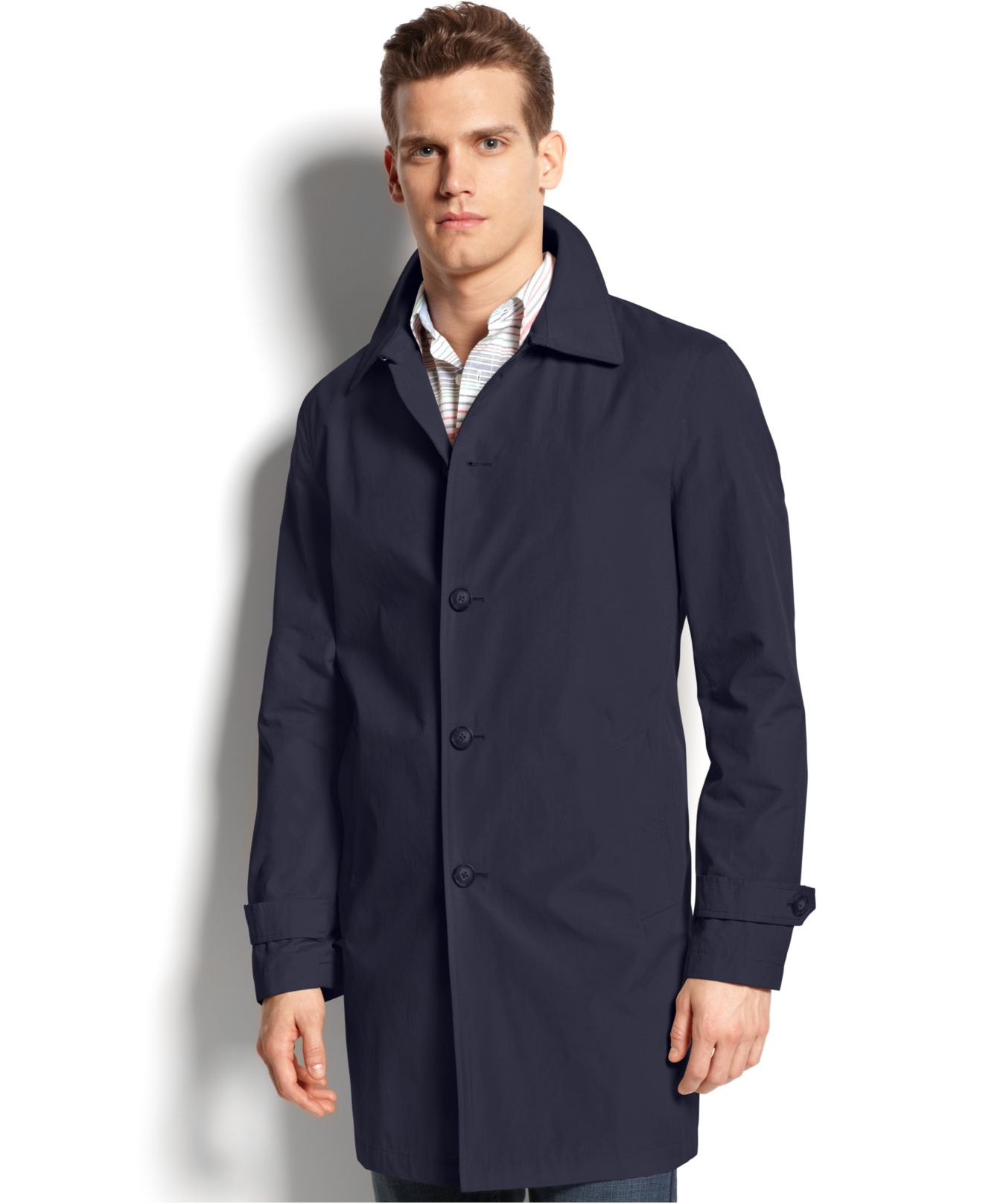 Lyst Tommy Hilfiger Single Breasted Raincoat In Blue For Men