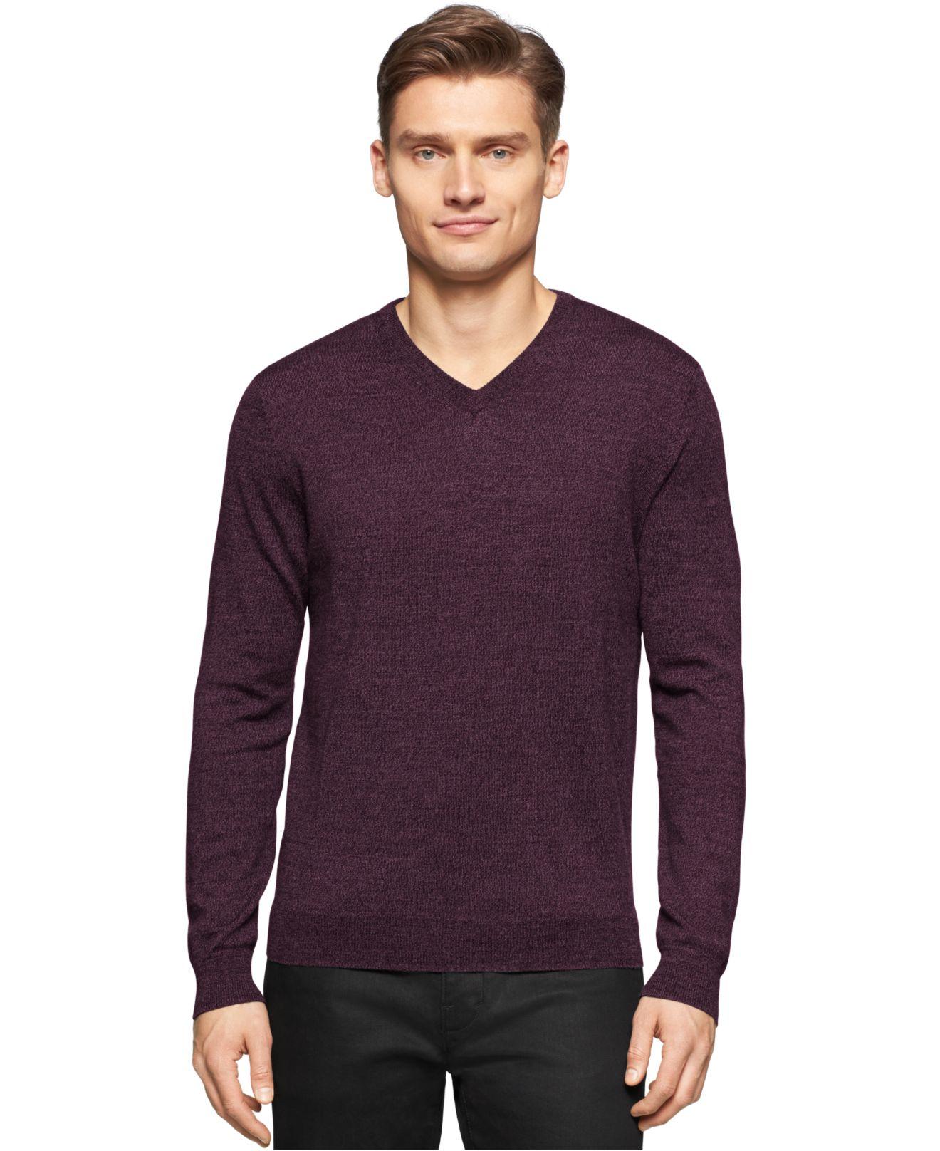 Calvin klein Merino Wool V-neck Sweater in Purple for Men | Lyst