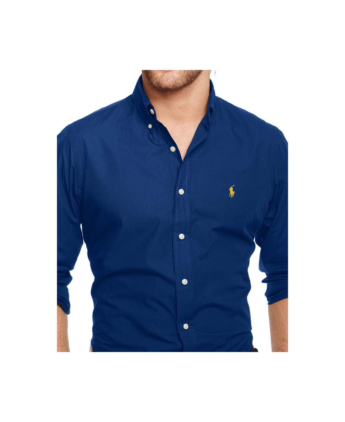 b65ea223e9de Lyst - Polo Ralph Lauren Men s Slim-fit Poplin Shirt in Blue for Men