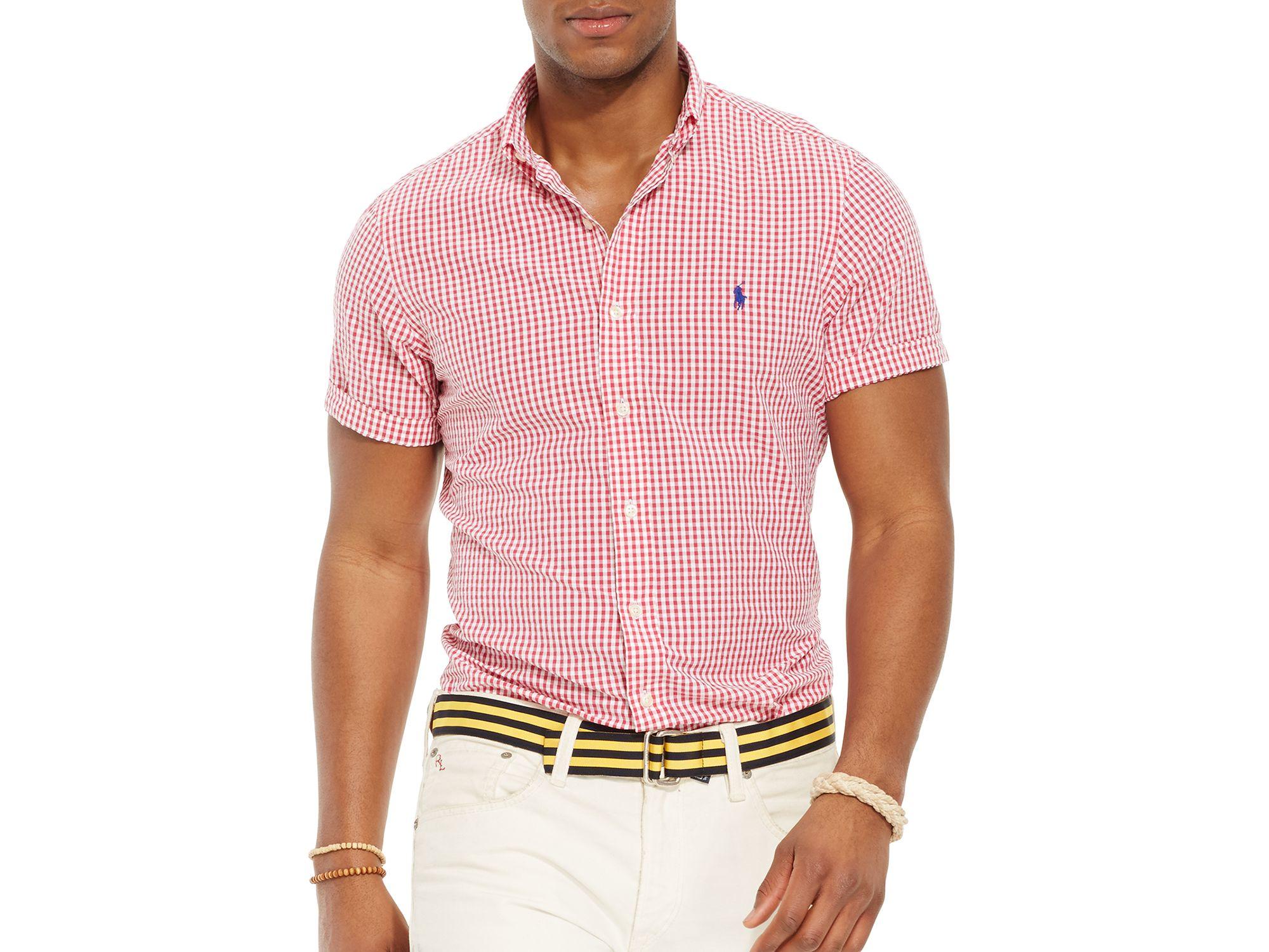 83b5ccb94 Ralph Lauren Polo Short Sleeved Striped Seersucker Button Down Shirt ...