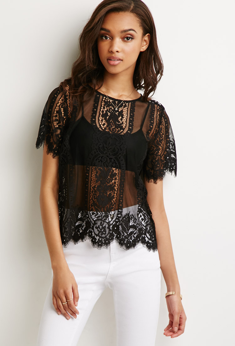 727763e54cc Forever 21 Black Scalloped Lace Top You've Been Added To The Waitlist