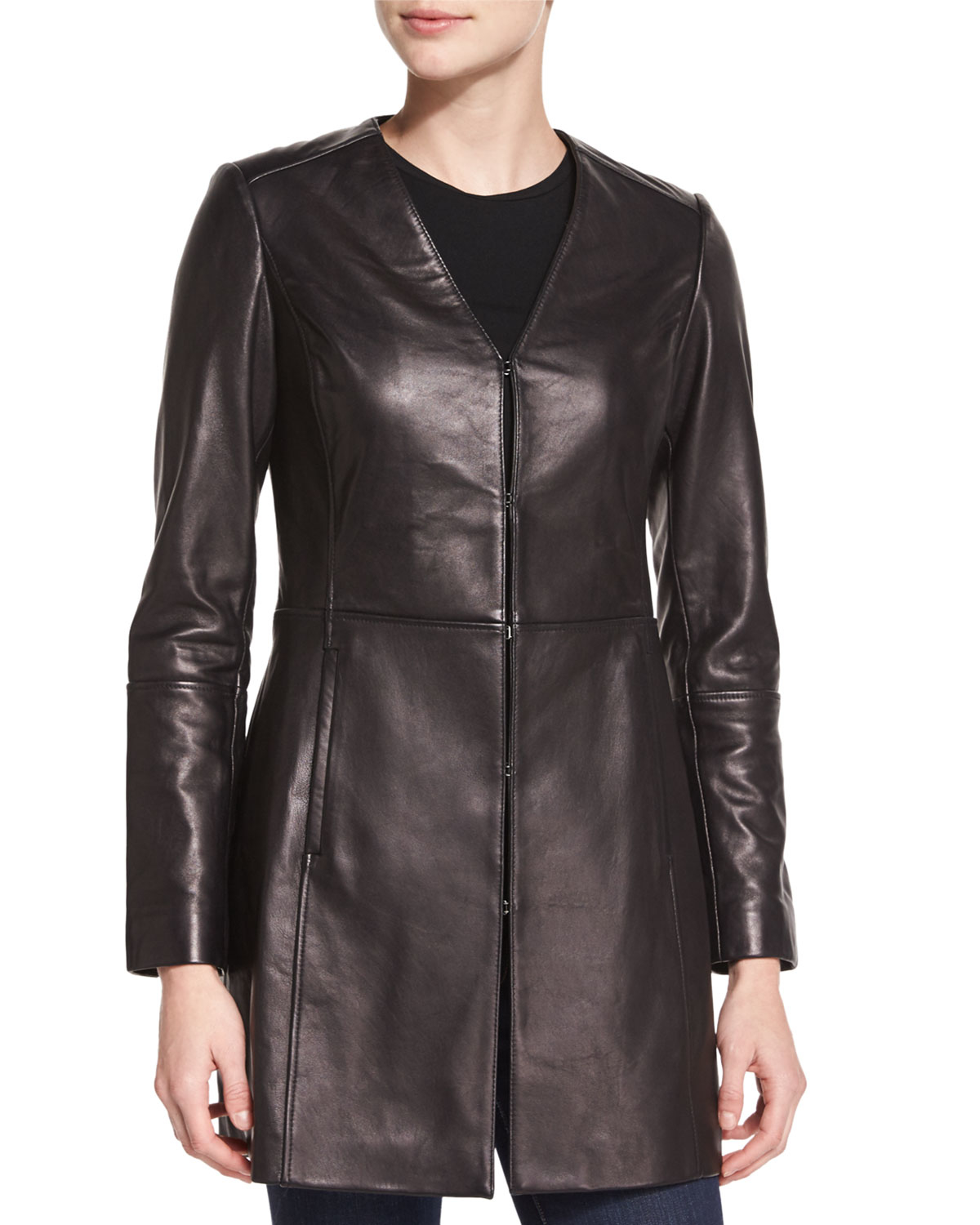 Neiman marcus V-neck A-line Leather Topper Jacket in Black ...