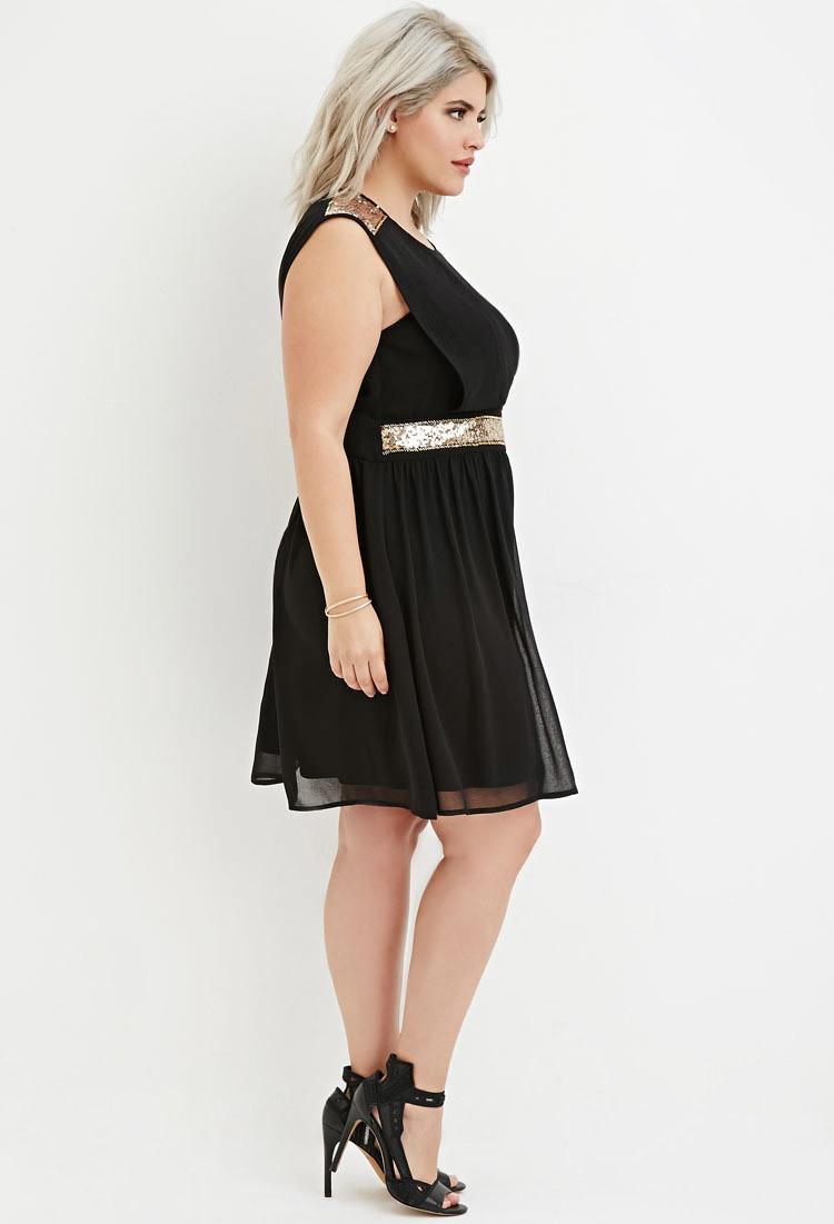 Plus Size Sequin-panel Layered Chiffon Dress